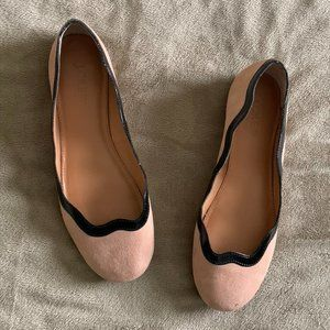 J. Crew blush suede scalloped flats size 7